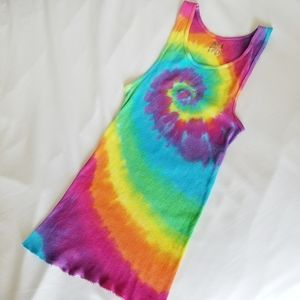 TIE DYED ribbed Tank Top  vivid colors! Large